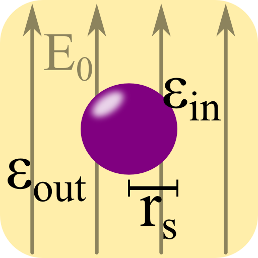 A dielectric sphere in a constant electric field.