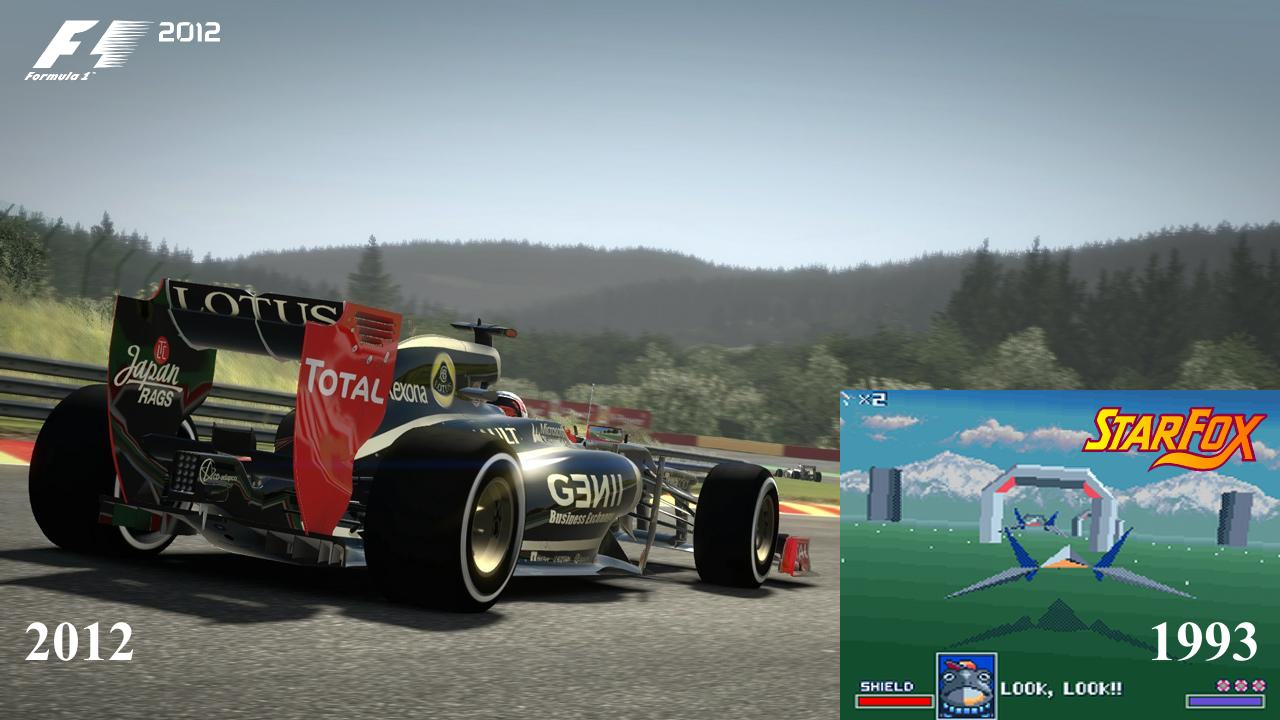 game physics has changed a lot over the years - star fox vs formula 1 2012